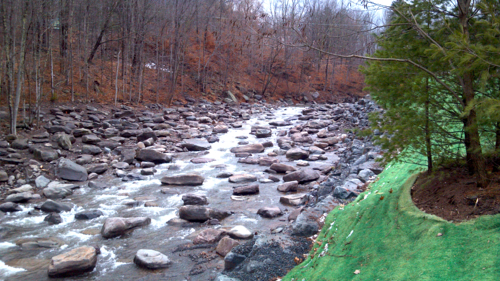 Stony Clove - Warner Creek stream restoration project immediately after construction, fall 2014.