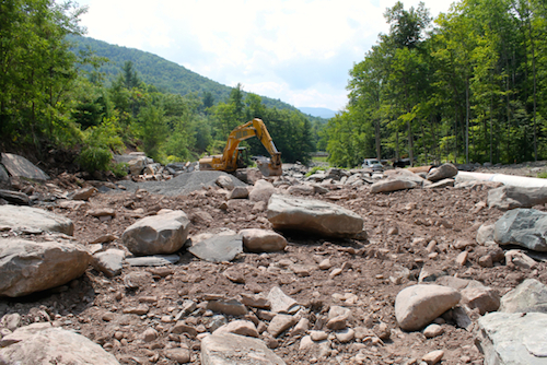 Stony Clove - Warner Creek Stream Restoration Project during construction, August 2014.