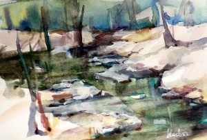 Watercolor Painting of Stream by Joyce Washor