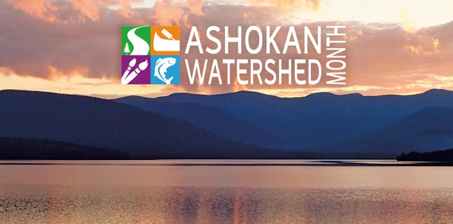 view of the Ashokan Reservoir with the Ashokan Watershed Month logo