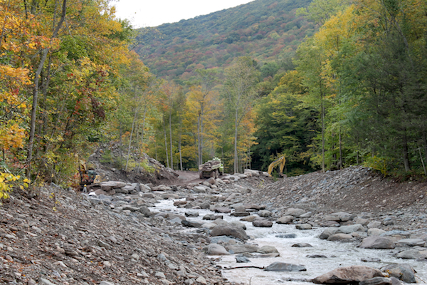 Stony Clove Creek near Wright Road looking upstream during steam restoration.