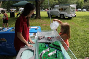 AWSMP Watershed Educator, Samantha Kahl, educating a local community member regarding human impacts on stream systems at Shandaken Day 2017. Photo Credit: Brent Gotsch