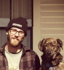 Tim and his puppy.