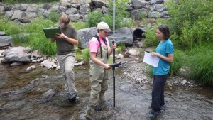 AWSMP Summer Interns Justin Alecca (left) and Kaitlyn Perrone (middle) help AWSMP Watershed Technician Tiffany Runge (right) run a cross section along the Stony Clove Creek.