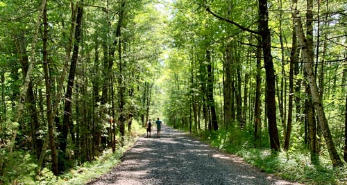 Hikers on the Ashokan Rail Trail