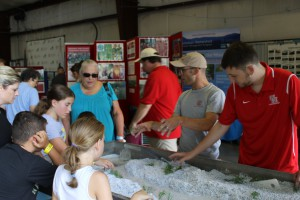AWSMP Stream Educator Tim Koch (gray shirt) uses the stream table to educate Ulster County Fair attendees on the topic of stream dynamics.