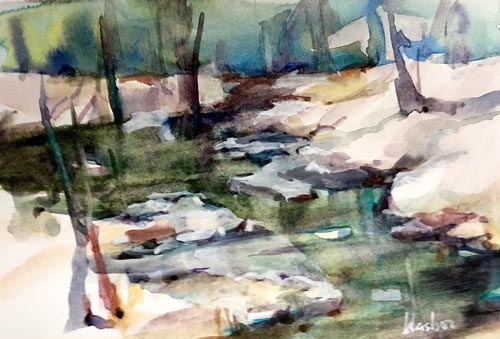 Watercolor of a stream by Joyce Washor