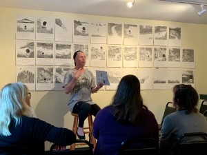 "Will Lytle reads from his new AWSMP funded children's book ""Little One and the Water"" at the Golden Notebook in Woodstock during Ashokan Watershed Month 2019."