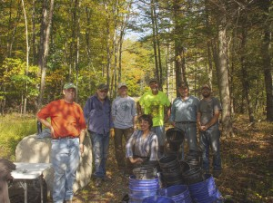Volunteers and AWSMP help plant native riparian vegetation on the site of stream restoration project along Mink Hollow during Ashokan Watershed Month 2019.