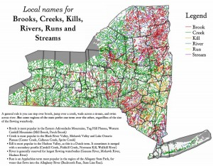 Local names for Brooks, Creeks, Kills, Rivers, Runs and Streams in New York State. Image by Andy Arthur.