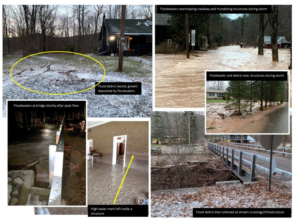 Multiple images showing evidence of high water such as deposited tree branches and flooded roadways